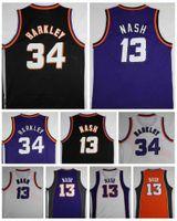 siyah vintage gömlekler toptan satış-Kaliteli # 34 Charles Barkley Jersey Ucuz # 13 Steve Nash Formalar Vintage Mor Siyah Beyaz Gömlek Dikişli Adam Boyutu S-XXL