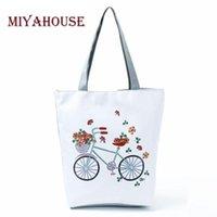 trendy tuval toptan çantalar toptan satış-Kadınlar Çiçek Tasarım Canvas Tote Çanta Yüksek Kapasiteli Kadın Omuz Alışveriş Çanta için Miyahouse Trendy Bisiklet Baskı Plaj Çantaları