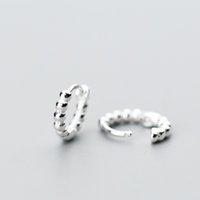 925 silberne ohrreifen großhandel-100% 925 echte Sterling Silber Hoop geometrische Ohrringe für Frauen Mädchen Teen Piercing Earing Schmuck
