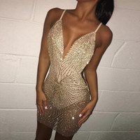 Wholesale sexy club dresses sparkly for sale - Group buy Womens Dress Strap Sparkly Sexy Dress Women V Neck Backless Bling Bling Party Dresses Night Club Wear Sequin Dress Asian Size