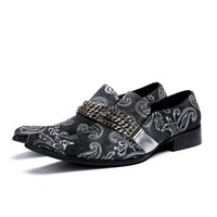 sapatas formais de salto baixo venda por atacado-Nova moda dos homens Slip-on cadeia Oxfords sapatos de vestido de couro genuíno toe quadrado sapatos de escritório de negócios de baixo calcanhar formal