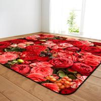 blaue valentine blumen großhandel-3d rose blume gedruckt große teppiche für wohnzimmer rutschfeste hause teppiche schlafzimmer weichen nacht teppich valentinstag geschenk für frauen
