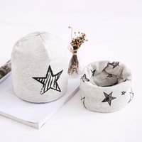 Wholesale baby girl scarf for winter for sale - Group buy Children Hats Cotton Star Print Baby Hat Cap For Girls Boys Winter Cap Scarf Set Kids Caps months to
