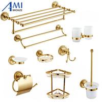 Wholesale paper cup gold resale online - 801G Series Gold Polished Copper Bathroom Accessories Towel Shelf Towel Bar Paper Holder Cloth Hook Soap Dish Cup Holder