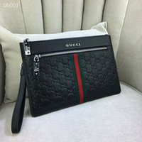 Wholesale hand woven leather handbags resale online - clutch bags casual New Striped Woven Leather Clutch Top Quality England Style Handbags Genuine Leather Hand Bags For Men Size X17cm