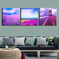 Wholesale oil painting lavender wall art for sale - Group buy HD Prints Panels Canvas Prints Painting Lavender Scenery Wall Art Picture For Living Room Wall Decor Home Decoration