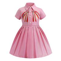 vestidos formales cortos para las niñas al por mayor-Venta al por menor vestidos de niña 2019 solapa bordada de manga corta de algodón falda plisada vestido niños diseñador ropa niños boutique de ropa