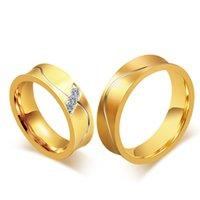 ingrosso anelli in titanio unici-Unico Alliance Anel Ouro titanio Promise Ring Wedding coppia per il regalo degli uomini e delle donne di colore dell'oro Festa di fidanzamento Gioielli VR325