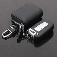 araba anahtarları için deri çantalar toptan satış-Güzel Deri Cüzdan Erkekler Araba Çanta Çok Fonksiyonlu Durumda Moda Kahya Anahtar Sahipleri