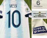 utiliser pour le fer achat en gros de-Match de joueur usé en match de 2019 Messi Dybala L.Martinez Kun Aguero Copa Match amical contre le Brésil Colombie Chili Qatar Venezuela Iron Patch
