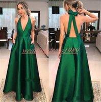 seksi top yeşil akşam elbiseleri toptan satış-Elegance V Yaka Backless Gelinlik Modelleri Ile Cep Topu Koyu Yeşil Saten Örgün Gençler Akşam Giyim Vestido de fiesta Ucuz Uzun Parti törenlerinde