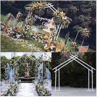 sanat projeleri toptan satış-Beşgenler Demir Sanat Geometri Çerçevesi Düğün Projeleri için Açık Düğün Sahne Arka Plan Dekorasyon Özel şekilli Kemer Köprü