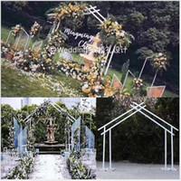 bogendekorationen großhandel-Fünfeckiger Rahmen der Eisenkunst-Geometrie für Hochzeitsprojekte im Freien Hochzeit Bühnenhintergrund Dekoration Sonderform Bogenbrücke