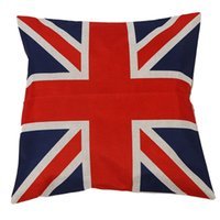 travesseiros de bandeira britânica venda por atacado-Estilo britânico Vintage Union Jack Flag Throw Pillow Case, Fronha