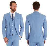 ingrosso vestito blu vestito sottile-Abiti da sposa blu cielo Slim Fit Smoking dello sposo per uomo 3 pezzi Groomsmen Suit Giacca formale da lavoro Custom Made (Jacket + Pants + Vest)