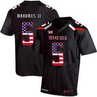mens fashion usa venda por atacado-Mens Personalizado Patrick Mahomes II Camisa de Futebol Texas Tech EUA Bandeira Moda Impressão de Alta Qualidade Costurado Colégio Camisas De Futebol Americano