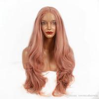 lange körperwelle halbperücken großhandel-Mode Hitzebeständige Rose Gold Synthetische Perücken Frauen Körperwelle Lange Haar Perücke Hohe Dichte Mittelteil Hälfte Hand Gebundene Perücke 180% Densit
