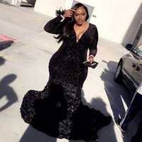 Wholesale flower girl dress evening gown for sale - Group buy Mermaid Plus Size Prom Dresses Black Girls Lace Plunging V Neck Long Sleeve Evening Gowns With D Flowers