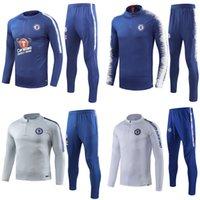 синий костюм с коротким рукавом оптовых-Синий армейский футбол с коротким рукавом 3/4 брюки спортивный костюм 2018-19 Eden Hazard Jorginho N'Golo Kante Fotball тренировочный костюм
