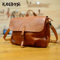 Wholesale high quality mens shoulder bags resale online - Nature Cow Leather Retro Mens Messenger Bag Luxury High Quality Cowhide Male Handbag Cross Shoulder Bag Modern Stylish Sling