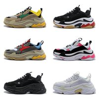 Wholesale red fashion shoes for men for sale - Group buy Fashion Designer Paris FW Triple s Sneakers for Men Women Black Red White Green Casual Dad Shoes Tennis Luxury Increasing Shoe