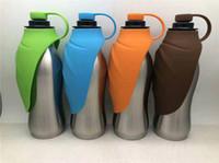 ingrosso ciotola portatile di bottiglia dell'acqua del cane-Bottiglia di acqua per cani in acciaio inox da 590ml Bottiglia per animali da compagnia per animali domestici portatile con catino in silicone a prova di acqua per escursioni a piedi