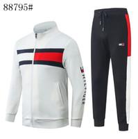 homem caucasiano coreano venda por atacado-Mens Treino terno dos homens Fino Correndo Sportswear Camisola de Algodão Coreano Mens tops e calças