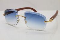 maßgeschneiderte sonnenbrillen großhandel-2019 freies Verschiffen heißer Schnitzen fertigen Objektiv-Mann-Sonnenbrille-hölzerne Sonnenbrille T8200762 Unisexkatzenaugengläser Weinlese-Sonnenbrille mit Kasten besonders an