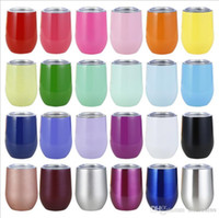 Wholesale double wall tea mugs resale online - 9 oz OZ egg mug Wine glass double wall Stainless steel vacuum insulated mug drinking coffee tea Stainless steel Beer Cup