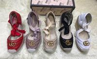 use sapatos venda por atacado-Mocassins de couro de senhoras clássicas, cunhas de Espadrille, solas de tecido de grama casuais sapatos terno de senhoras, adequado para o uso diário