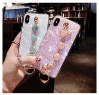 Wholesale phone gems for sale - Group buy Shell pattern mobile phone case with gem bracelet suitable for s20 mate30 pro protective sleeve dhl free