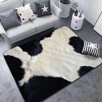 tigre amarillo al por mayor-Alfombra creativa de piel de animal con estampado de leopardo / cebra / vaca / tigre 3D Alfombrilla para sala de estar Alfombra Tapetes de alfombra