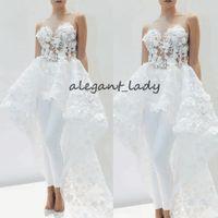 beyaz etek takımları toptan satış-Kadınlar için tren ile dantel Aplike gelin Tulumlar Zarif 2019 dantel 3D çiçek Ayrılabilir Etek Beyaz düğün pantolon takım elbise