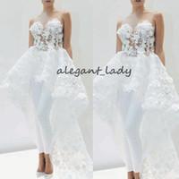 ingrosso pantaloni eleganti bianchi-Tute da sposa con applicazioni in pizzo e strascico da donna Elegante 2019 Gonna staccabile floreale in pizzo 3D Abito da abito bianco da sposa