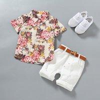 bebek beyefendi kıyafeti toptan satış-Erkek bebek giysileri Erkek Çiçek Gömlek Pamuk Kısa pantolon ile Çocuk Moda Beyefendi Yaz Kıyafetleri Rahat Setleri Giyim 2 adet / grup