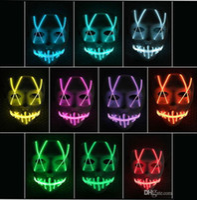 ingrosso divertente volto maschera natale-LED Mask Up divertente maschera principale della striscia al neon flessibile del segno LUMINESCENTE fune metallica della luce al neon di Halloween faccia controller luci di Natale