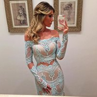Wholesale turquoise pearls resale online - Turquoise Prom Dresses Mermaid Long Sleeves Sleeves Lace Party Maxys Long Prom Gown Evening Dresses Robe De Soiree