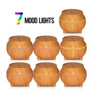 difusor da luz da noite do aroma venda por atacado-Umidificador de grãos de madeira USB 7 cores LED Night Light Touch Aroma sensível ao óleo essencial Difusor Purificador de ar Fabricante de névoa para o escritório GGA2597