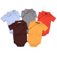 Wholesale newborn clothes sale resale online - Hot sale infant rompers summer short sleeve turn down collar cotton jumpsuit toddler climbing clothes newborn cotton clothes
