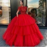 dantel boyun balo elbiseleri toptan satış-Lüks Kırmızı Balo Gelinlik Modelleri Yüksek Boyun Dantel Aplike Boncuk Abiye Giyim Kat Uzunluk Katmanlı Özel Durum Elbise