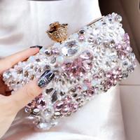невесты день свадьбы кошелек оптовых-Women Clutch Bags  Evening Bags Crystal Handbags Floral Wedding Bride Purse Ladies Small Shoulder Bag Valentine's Day Gift