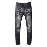 mavi gökyüzü modası toptan satış-Balmain Yepyeni Erkek Kot Moda Sıkıntılı Fermuar Yırtık Kot Erkek Tasarımcı Sıska Biker Pantolon SKy Mavi Hip Hop Denim Pantolon