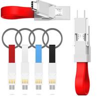 cargador llavero universal al por mayor-3 en 1 tipo c cable micro llavero portátil cargador magnético cables para samsung galaxy s6 s7 s8 s9 s10 htc lg teléfono android
