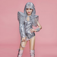 stage sexy outfits 2021 - Silver Sequin Fringed Bodysuit Jazz Dance Costume Sexy Women Stage Show Outfits Nightclub Bar Singer Gogo Dance Costumes SL2463