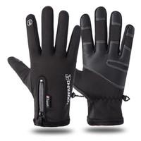 motosiklet için suya dayanıklı eldivenler toptan satış-2019 yüksek kaliteli tasarımcı dış ticaret yeni erkek su geçirmez sürme eldiven artı kadife termal spor motosiklet eldiven