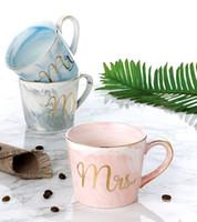 ingrosso tazze grigie-mark cup Semplice in stile nordico in marmo creativo con bordi dorati in ceramica per ufficio tazza di caffè in polvere tazza marmorizzata per occasioni di regali che fanno affari