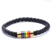 bracelets à tresser les couples achat en gros de-Mode Gay Lesbienne Bracelet Lgbt Couple Arc-En-Cuir Corde Tressé Bracelets En Acier Inoxydable Magnétique Boucle Bracelet Manchette Unisexe
