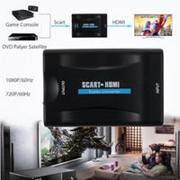cajas de cable hd tv al por mayor-1080P HDMI a SCART a HDMI Convertidor estéreo de video compuesto Adaptador de audio con cable USB Sky Box HD TV DVD A / V Accesorios