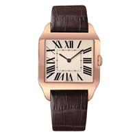relógios de luxo rosa homem venda por atacado-2019 Rose Gold Novos homens relógio Gentalmen luxo relógios mulheres moda relógio de pulso de couro marrom quadrado dial Feminino Relogio Montre relógio masculino