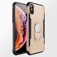 cas en plastique de cas de téléphone achat en gros de-Luxe Magnétique Anneau Stand Case Pour iPhone X / 7/6 / 6S / 8Plus En Plastique Full Cover Shell Avec Support De Voiture Téléphone Cas
